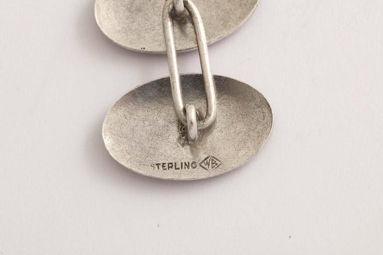 Wachenheimer Bros American Art Deco Guilloche Enamel Sterling Silver  Cufflinks For Sale 1