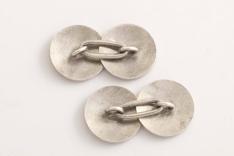 Men's American Art Deco Guilloche Enamel Sterling Silver Cufflinks For Sale