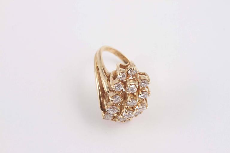 Carat diamond gold waterfall ring for sale at 1stdibs for Waterfall design ring