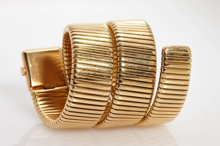 Bulgari Ladies Yellow Gold Tubogas Wristwatch  1