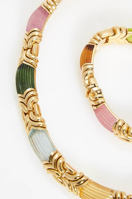 Bulgari Alveare Tourmalines Gold Set  In Excellent Condition For Sale In New York, NY