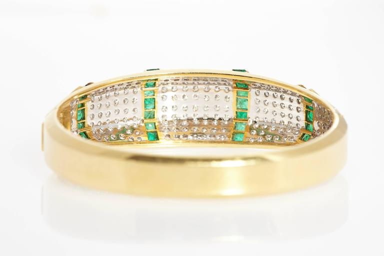 Women's Emerald Diamond Bracelet  For Sale