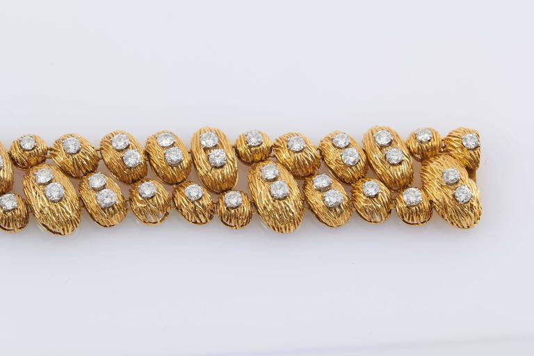 Vintage Van Cleef & Arpels 18K yellow gold bracelet with diamonds totaling approximately 7.50 carats.