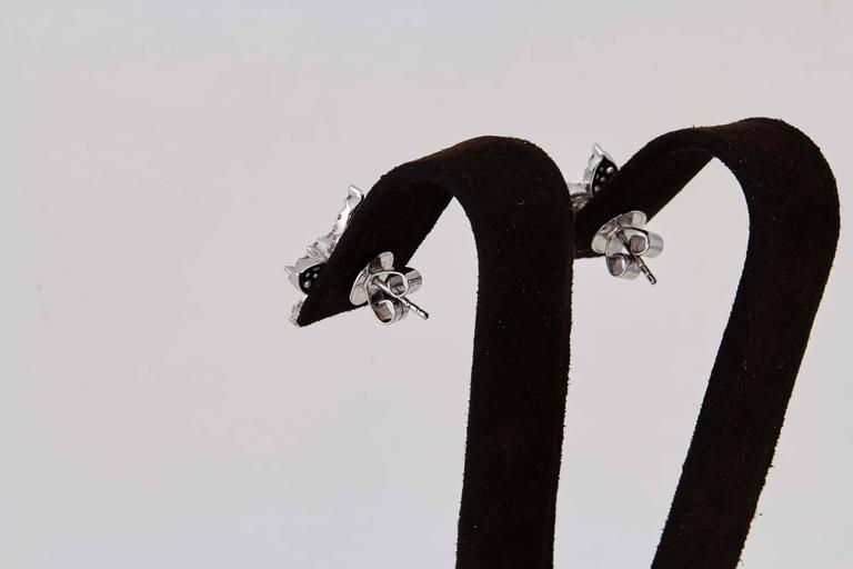 Classic Diamond Gold Cluster Earrings For Sale 2