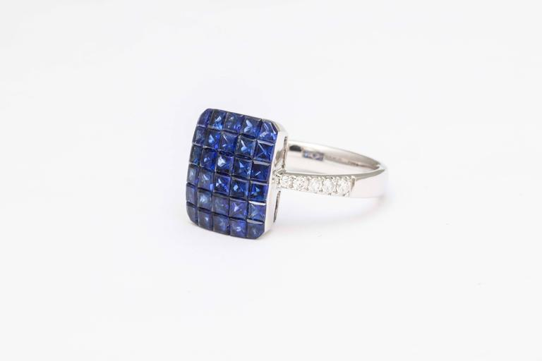 Contemporary Invisible Set Sapphire and Diamond Ring For Sale