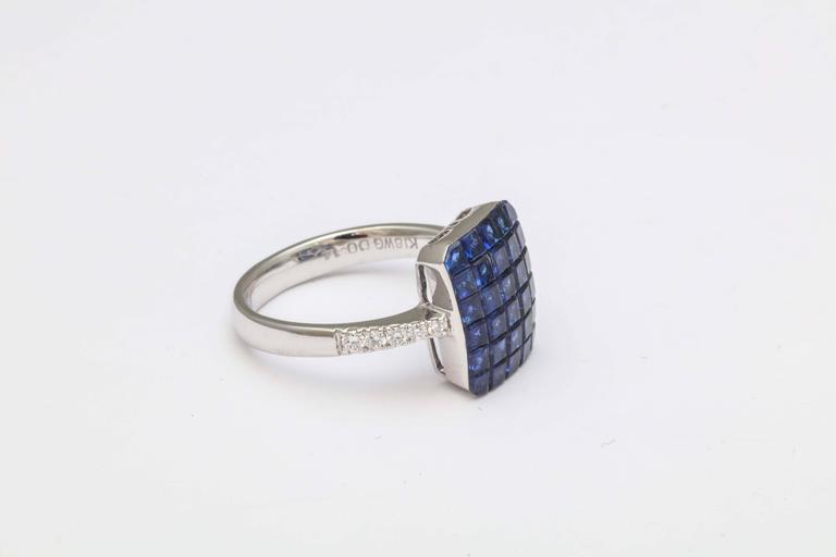 Invisible Set Sapphire and Diamond Ring For Sale 1
