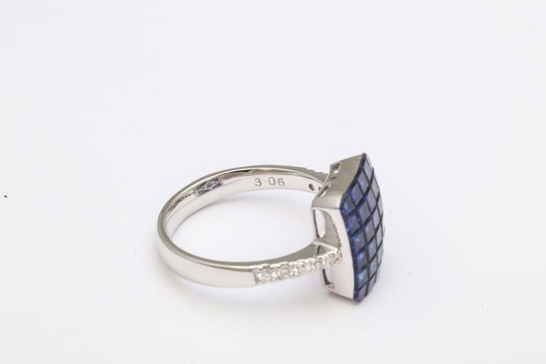 Invisible Set Sapphire and Diamond Ring For Sale 3