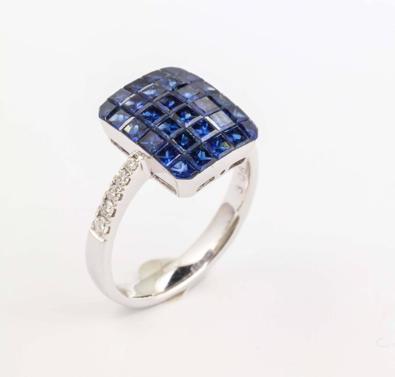 Invisible Set Sapphire and Diamond Ring For Sale 4