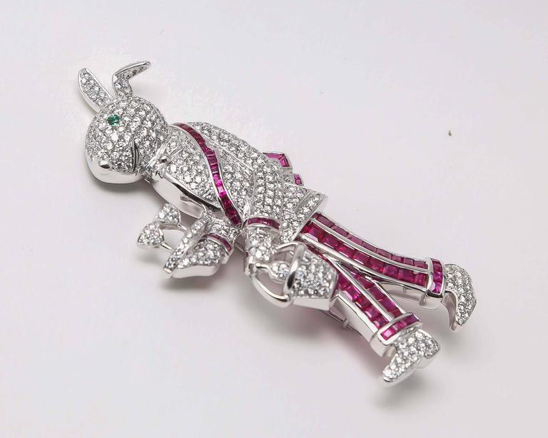 Contemporary Ruby Emerald Diamond Gold Rabbit Waiter Brooch For Sale