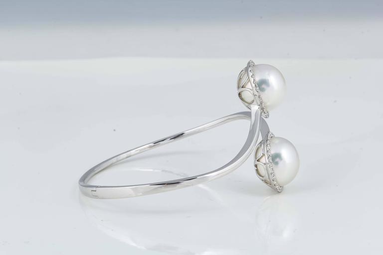 Contemporary South Sea Pearl Diamond Bypass Bangle Bracelet 0.51 Carats 18K White Gold  For Sale