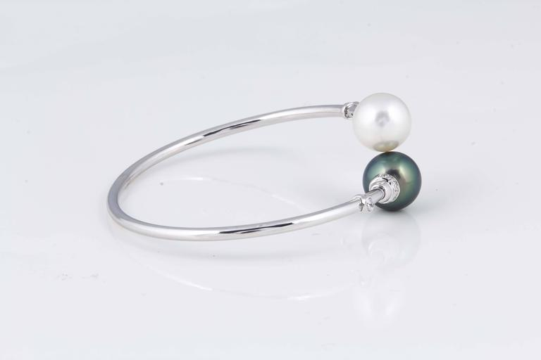 Contemporary South Sea Tahitian Pearl Diamond Bypass Bangle 18K White Gold  For Sale