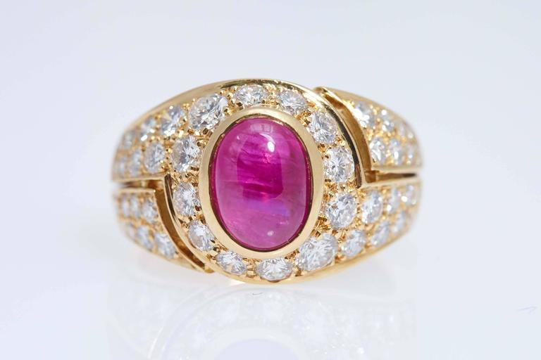 bulgari cabochon burma ruby diamond gold ring 2