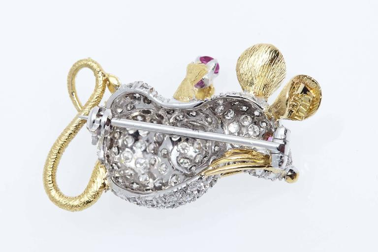 Modern Tiffany & Co. Whimsical Mouse Diamond Ruby Brooch For Sale