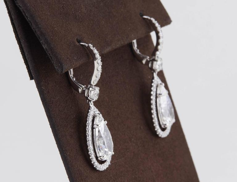 Women's GIA Certified Pear Shaped Diamond Drop Earrings  For Sale
