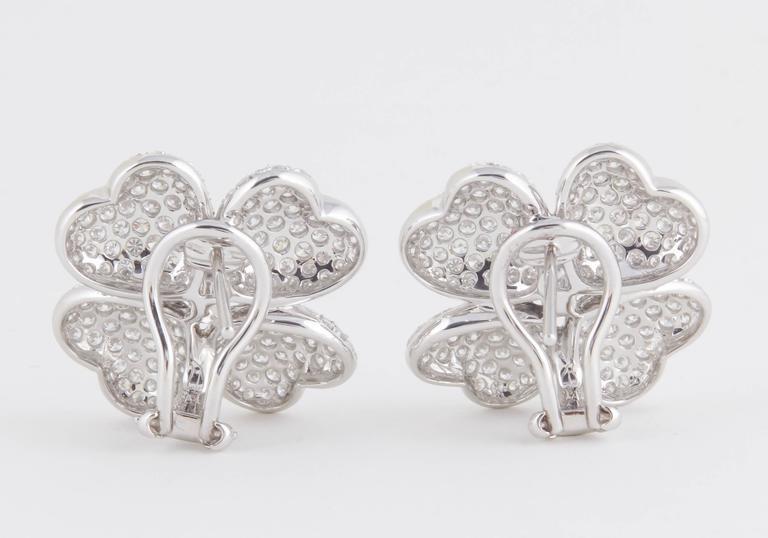 Diamond White Gold Flower Earrings For Sale 1