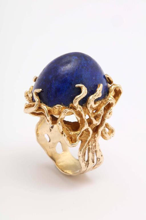 Women's Oversize Oval Lapis Yellow Gold Ring in Naturalistic Branch Setting For Sale