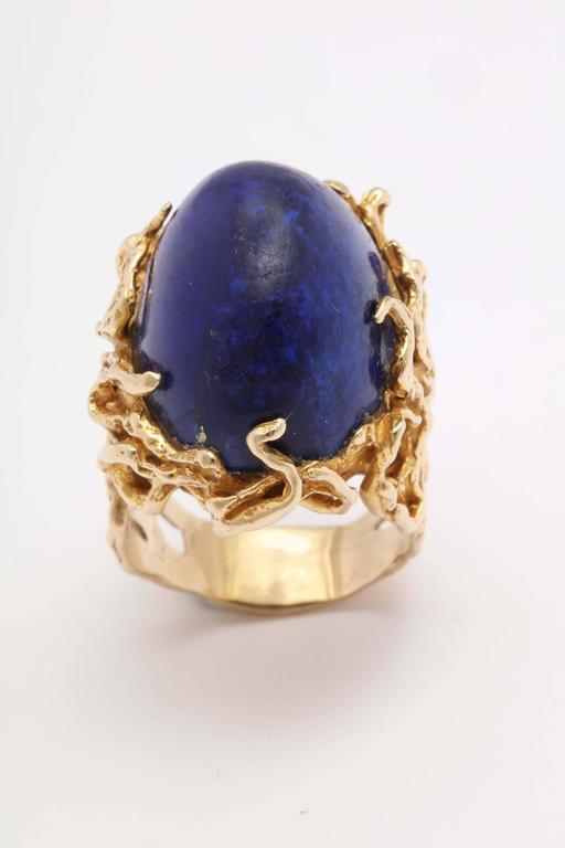 Oversize Oval Lapis Yellow Gold Ring in Naturalistic Branch Setting For Sale 1