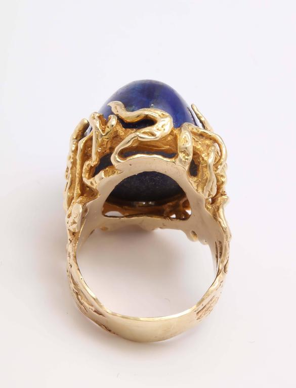 Oversize Oval Lapis Yellow Gold Ring in Naturalistic Branch Setting For Sale 4