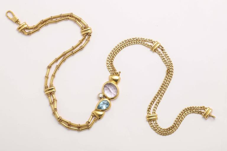 Modernist Manfredi Gold and Precious Stone Necklace For Sale