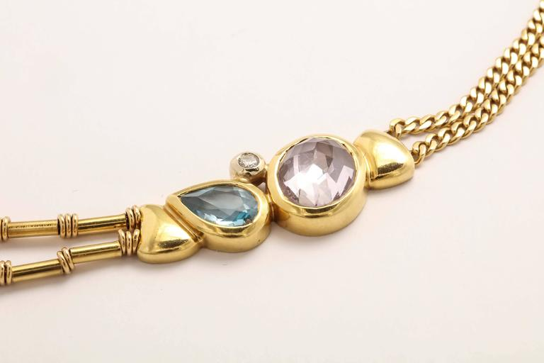 Manfredi Gold and Precious Stone Necklace For Sale 4