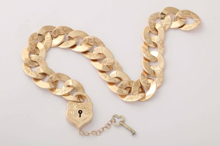 Victorian Reversible Lock And Key One Size Fits All Flexible Gold Link Bracelet 8
