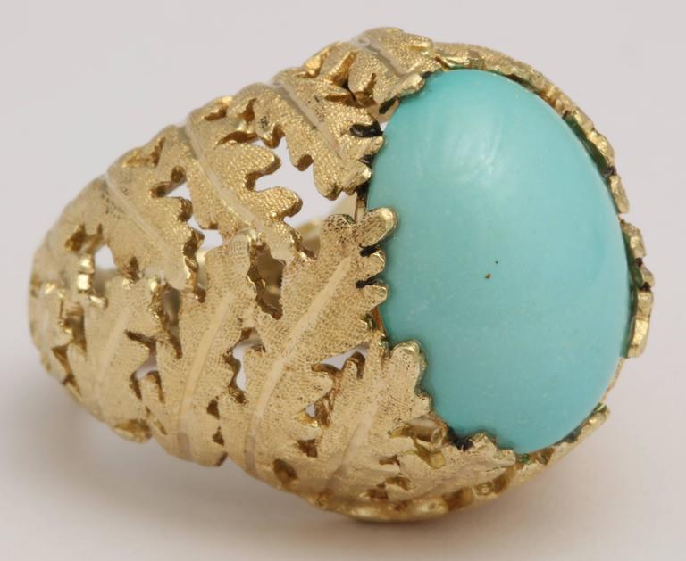 Romantic Turquoise and Gold Foliate Ring For Sale