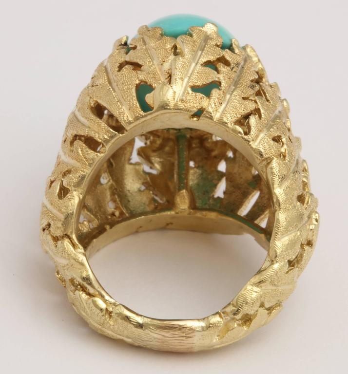 Women's Turquoise and Gold Foliate Ring For Sale