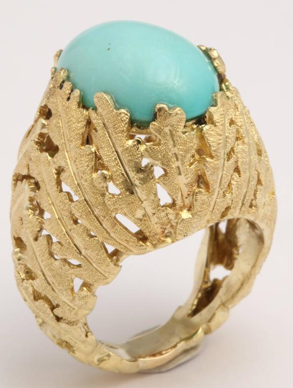 Turquoise and Gold Foliate Ring For Sale 3
