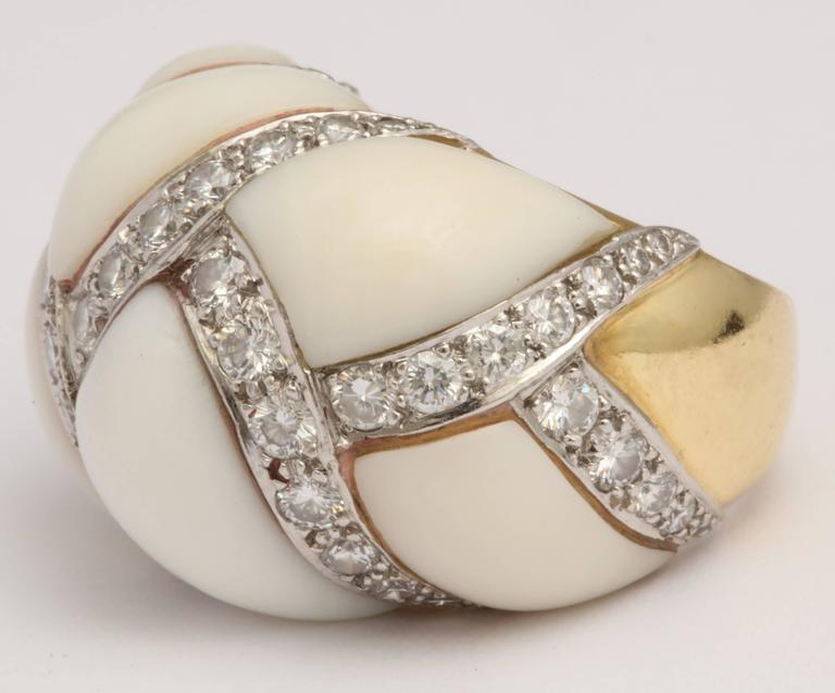 Baroque Angel Skin Coral Platinum and Diamond Ring For Sale