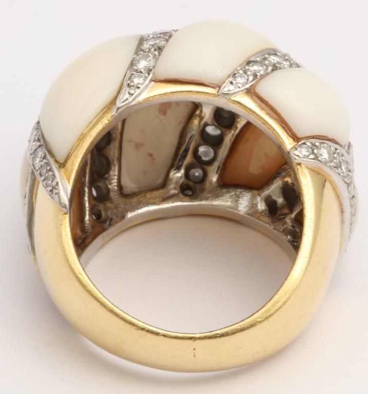 Women's Angel Skin Coral Platinum and Diamond Ring For Sale