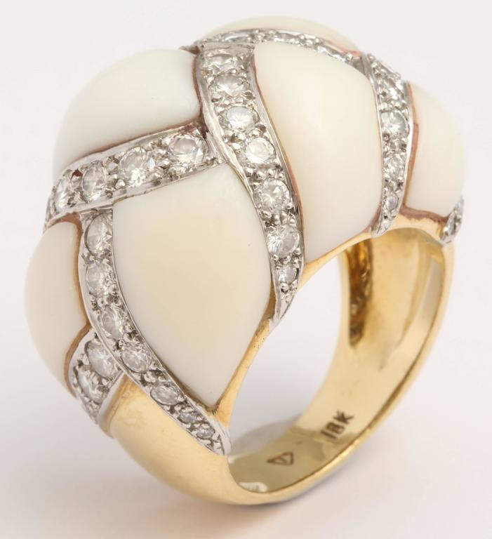 Angel Skin Coral Platinum and Diamond Ring For Sale 2