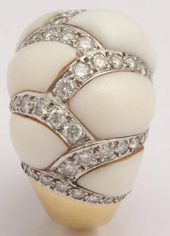 Angel Skin Coral Platinum and Diamond Ring For Sale 3