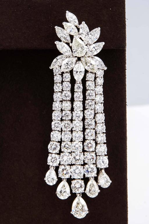 Just under 30 carats of diamonds!  A FABULOUS pair of important diamond earrings!  29.15 carats of F/G VS diamonds set in platinum.  Approximately 2.6 inches in length.