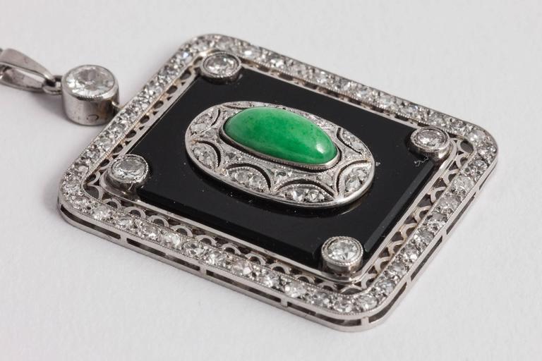 Art Deco rectangular Jade Diamond Onyx Pendant 4