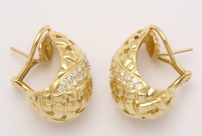 1980's Tiffany & Co. Basket Weave Cut Out Design Diamond And Gold Earclips 3