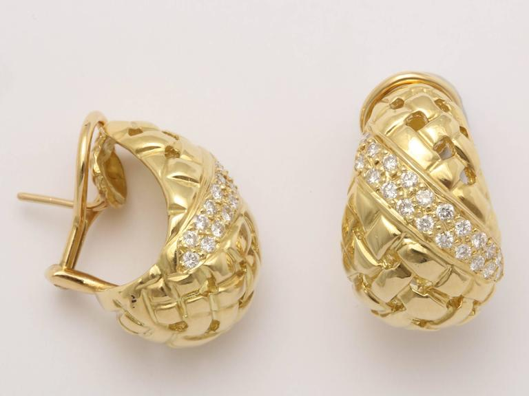 1980's Tiffany & Co. Basket Weave Cut Out Design Diamond And Gold Earclips 4