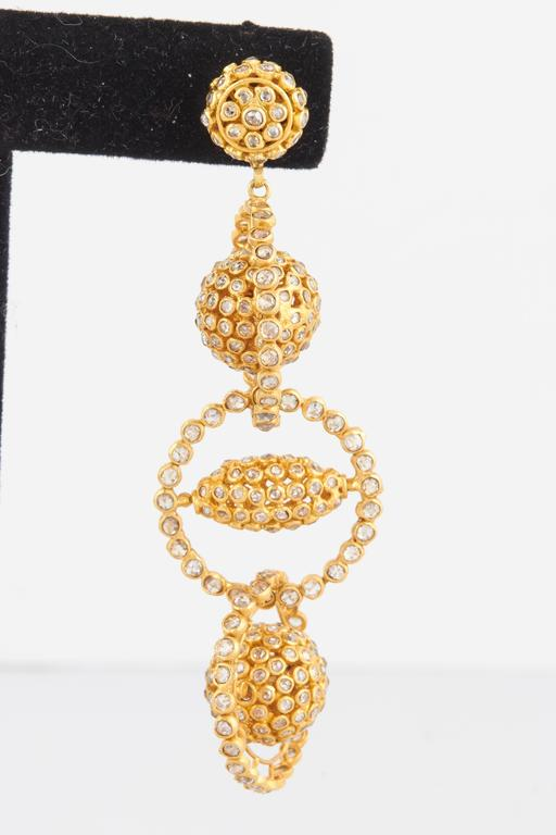 Contemporary Gold Diamond Mobile Earrings For Sale