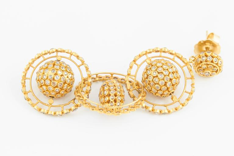 Gold Diamond Mobile Earrings For Sale 1