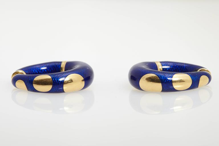 Women's Bulgari Blue Enamel and Gold Hoop Earrings
