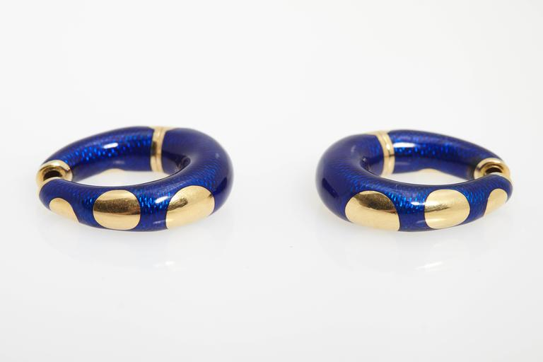 Bulgari Blue Enamel and Gold Hoop Earrings 1