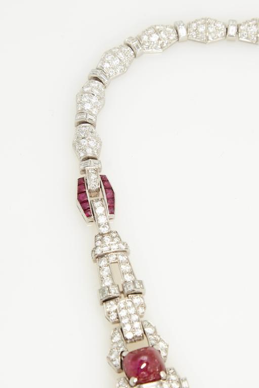 Magnificent Art Deco Ruby Diamond Sautoir Necklace For Sale 1