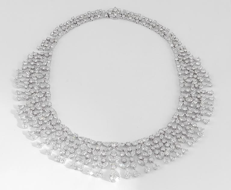 Magnificent Multi Shape Diamond Necklace In New Condition For Sale In New York, NY