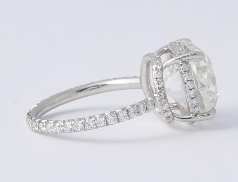 Rare 5 Carat Cushion Brilliant Cut GIA Certified Engagement Ring For Sale 1