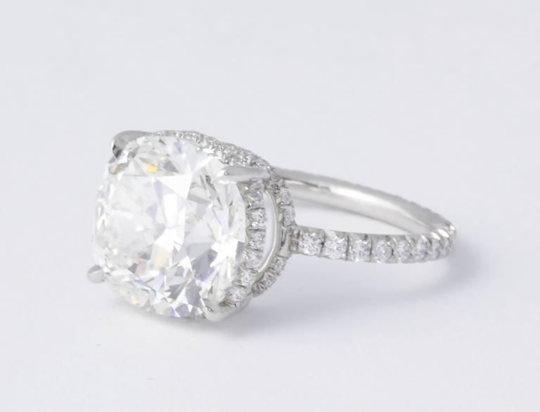 Rare 5 Carat Cushion Brilliant Cut GIA Certified Engagement Ring For Sale 3