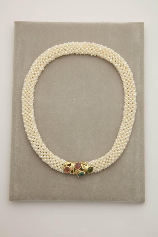 1980s Pearl Collar with Multicolored Semi Precious Gem Stones Gold Necklace 2