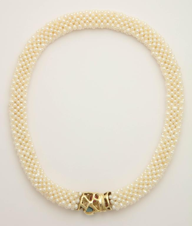 1980s Pearl Collar with Multicolored Semi Precious Gem Stones Gold Necklace 3