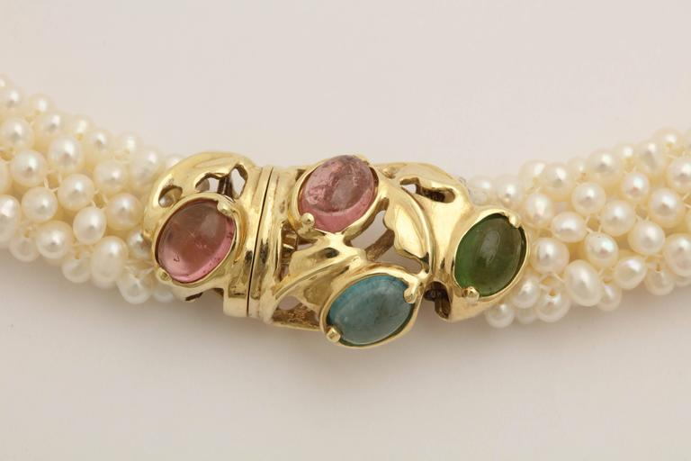 1980s Pearl Collar with Multicolored Semi Precious Gem Stones Gold Necklace 5