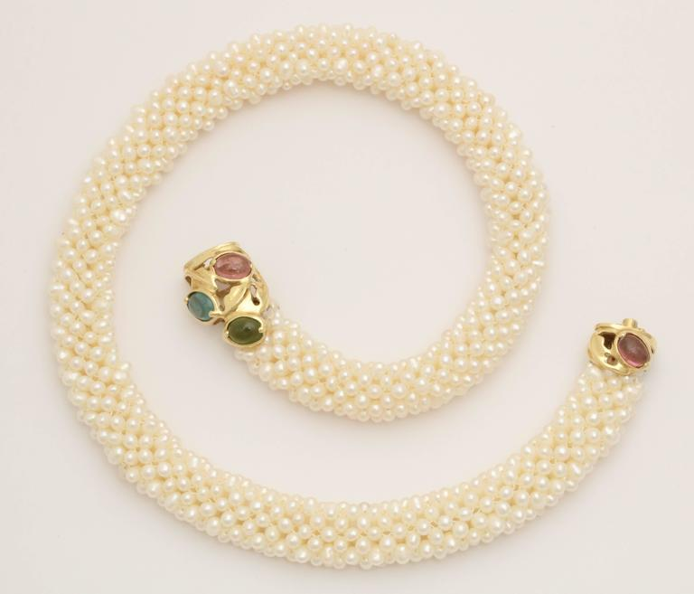 1980s Pearl Collar with Multicolored Semi Precious Gem Stones Gold Necklace For Sale 3