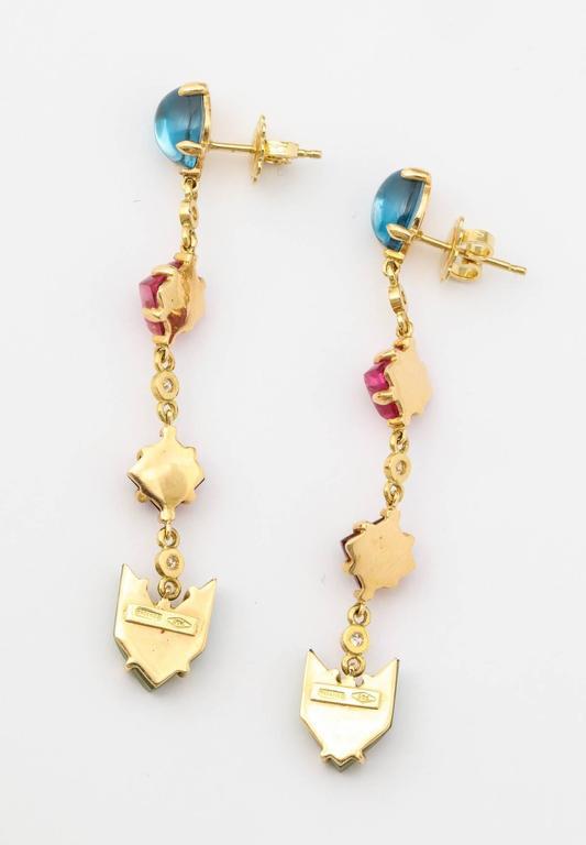 Semi Precious Stone Diamond Gold Drop Earrings 3