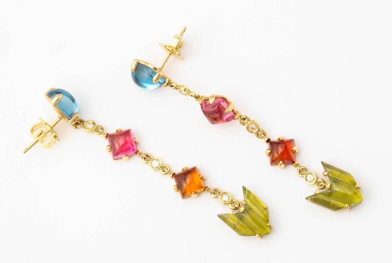 Semi Precious Stone Diamond Gold Drop Earrings 5